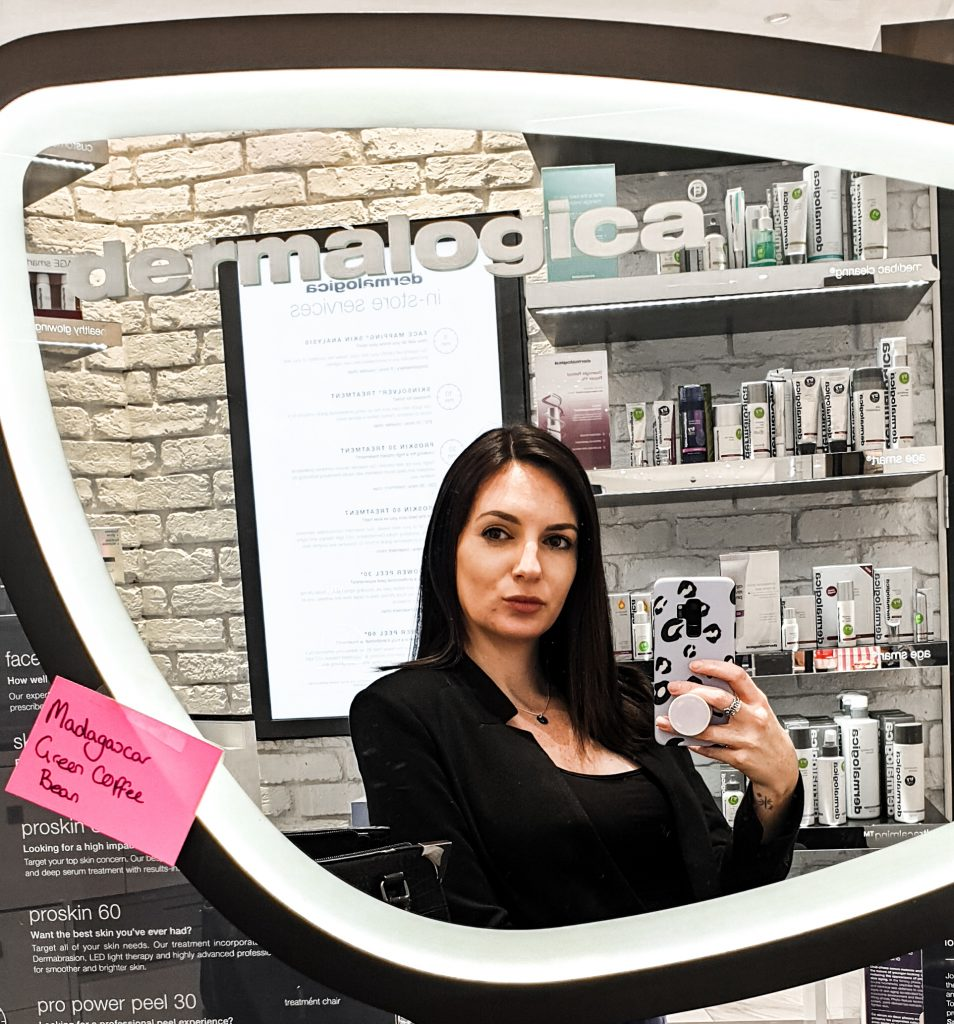 Missy T in the Dermalogica Mirror getting ready for the facial