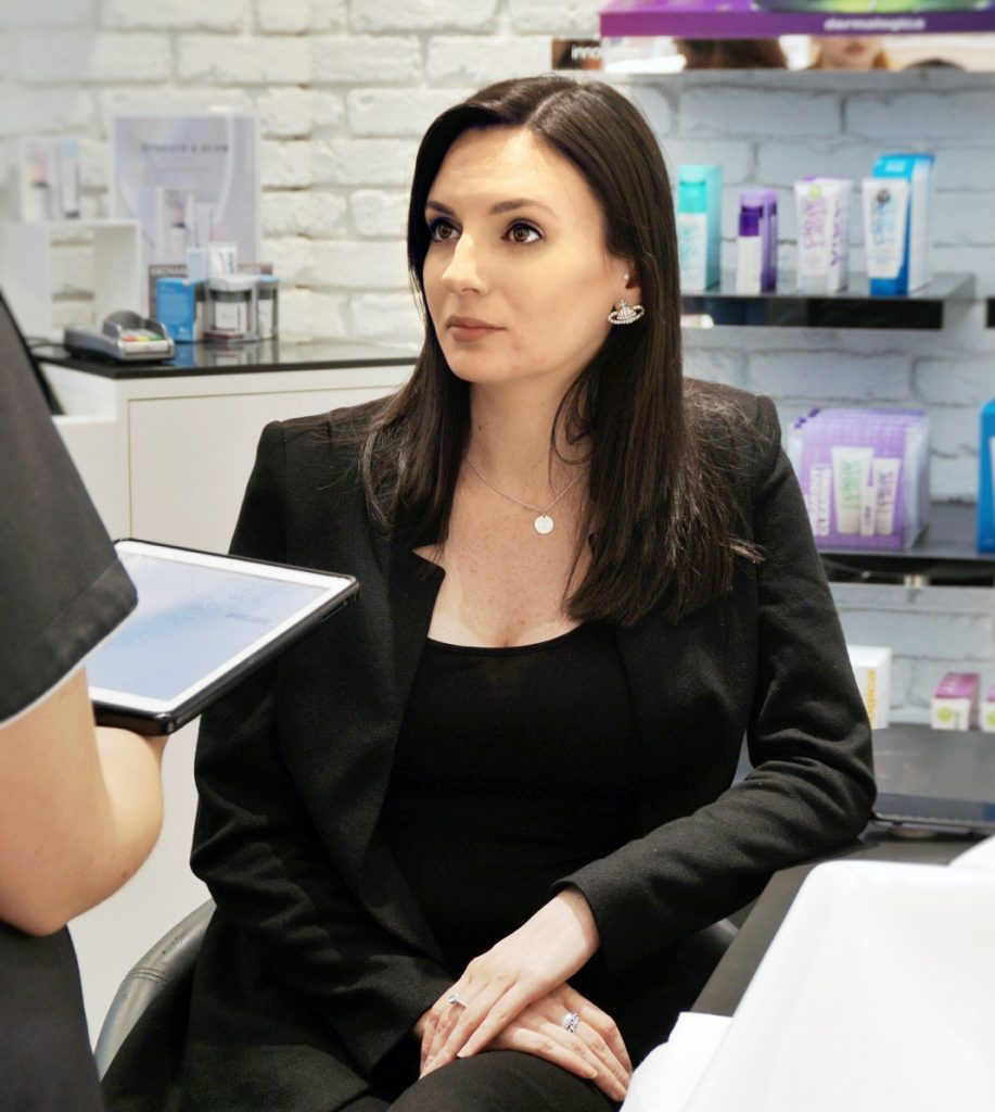 Missy T listening intently during the Skin Analysis