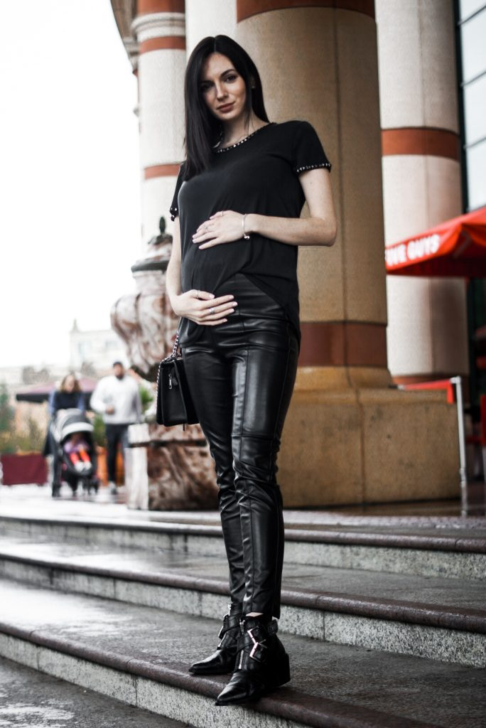 Maternity Fashion Biker Look Faux Leather Trousers and Black studded top