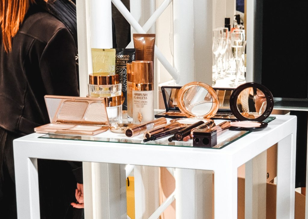 table containing all Charlotte Tilbury Products used to create the finished look