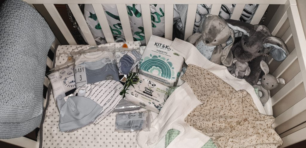 snap shot of items in hospital birthing bag for baby boy