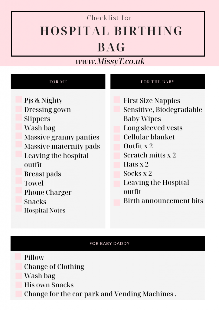 Hospital Birthing Bag Checklist