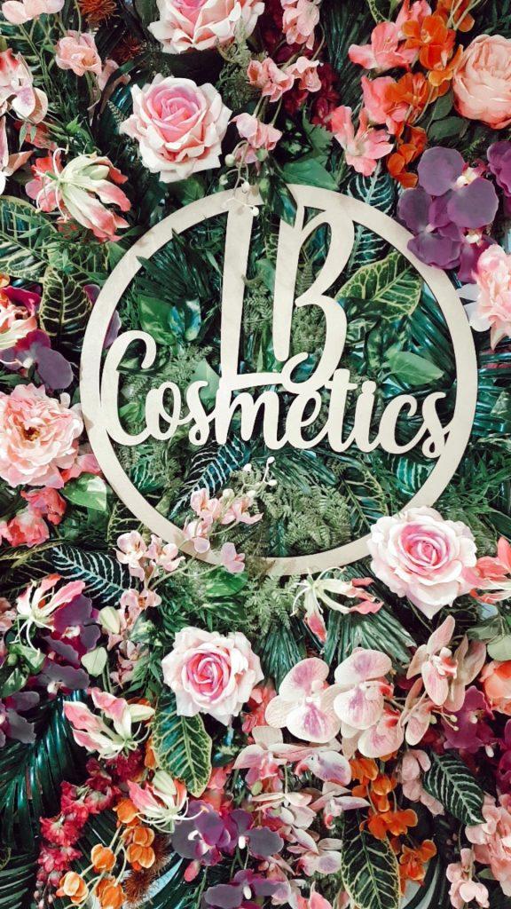 LB Cosmetics flower wall